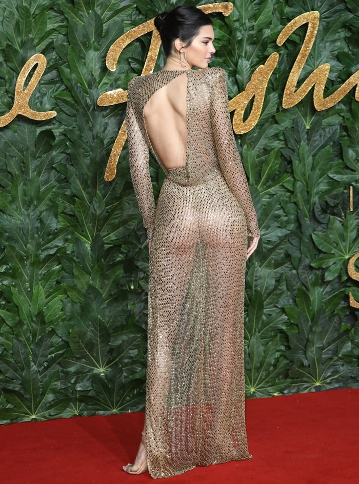 Kendall Jenner shows off her ass in a see-through gown in true Kartrashian style