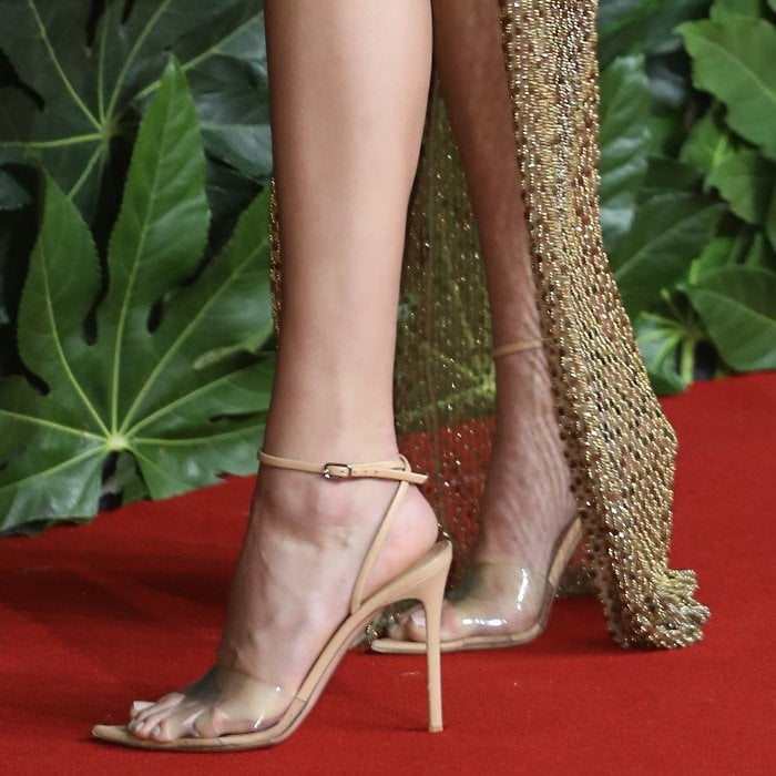 Kendall Jenner's sexy feet in barely-there perspex sandals