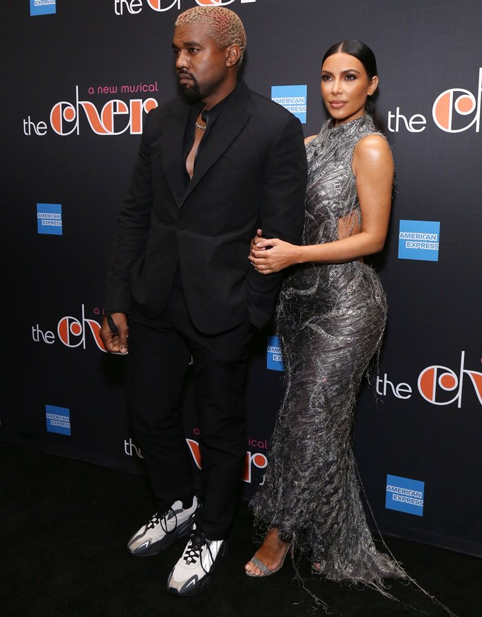 Kim Kardashian with her husband Kanye West at the opening night performance of the new Broadway musical The Cher Show at the Neil Simon Theatre in New York City on December 3, 2018