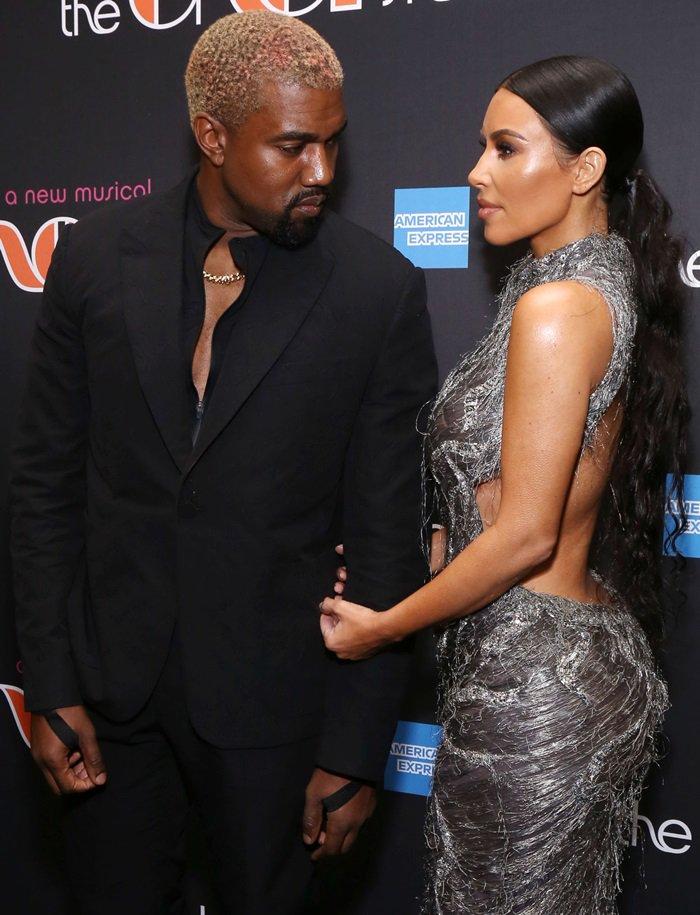 Kim Kardashian wore her hair in a low ponytail