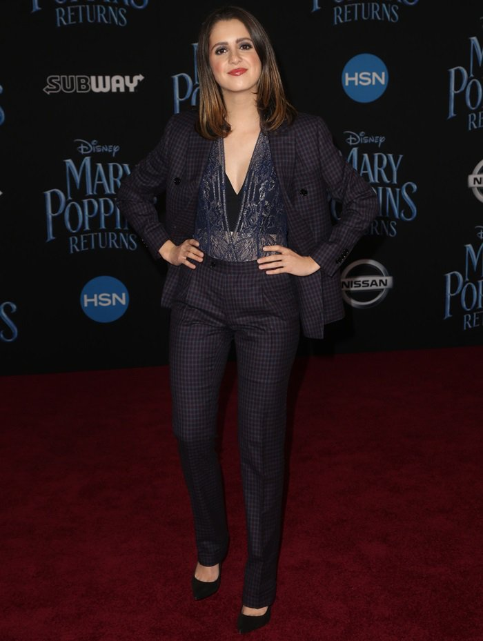 Laura Marano rocks a custom Stafford micro gingham check burgundy suit by Indochino