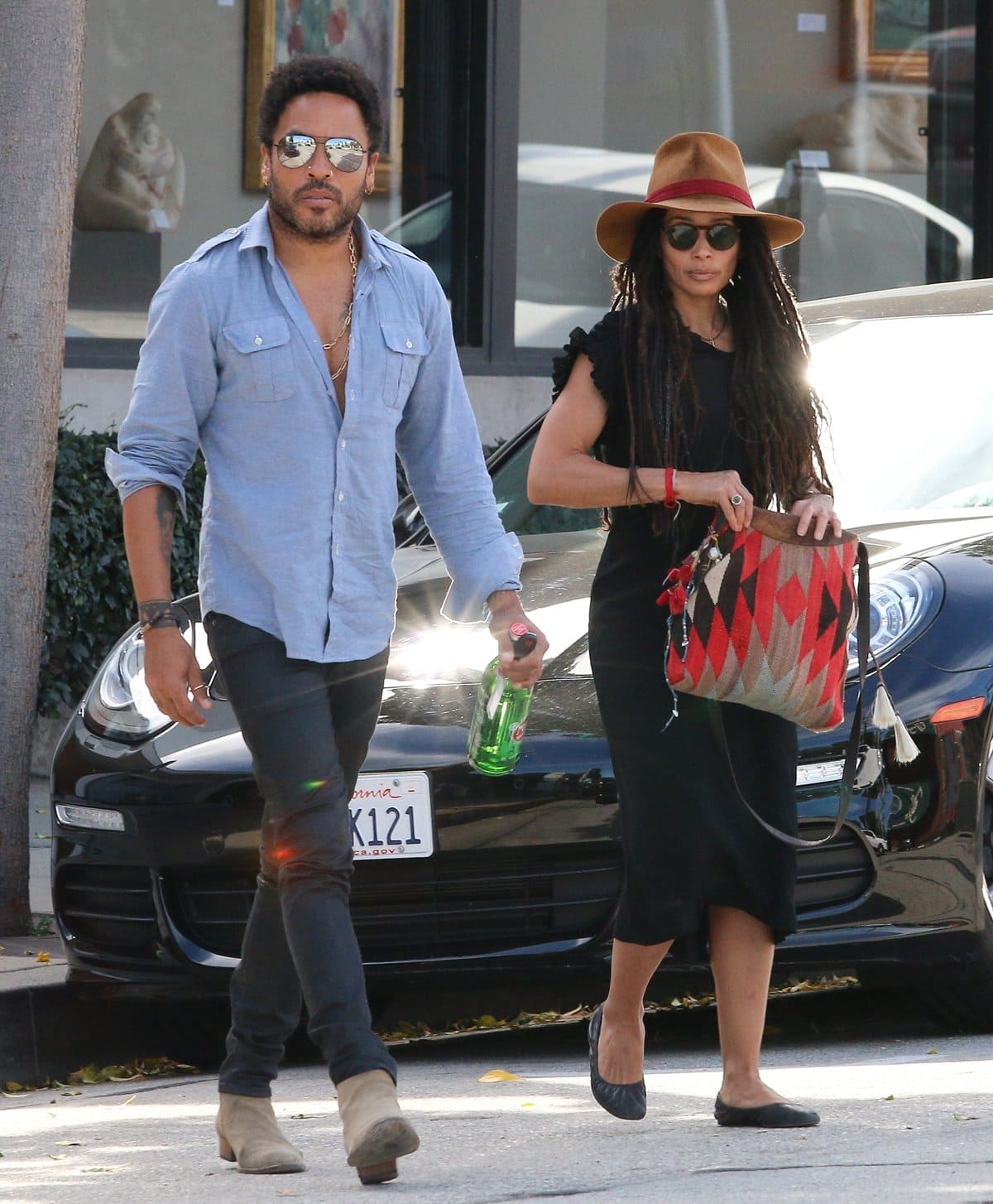 Lenny Kravitz and his ex-wife Lisa Bonet go for lunch together at Gracias Madre Restaurant in Beverly Hills