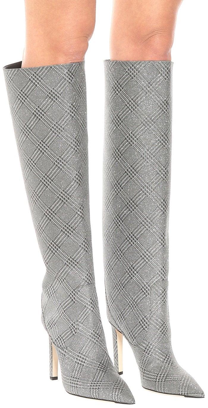 JIMMY CHOO Mavis 100 glitter knee-high boots