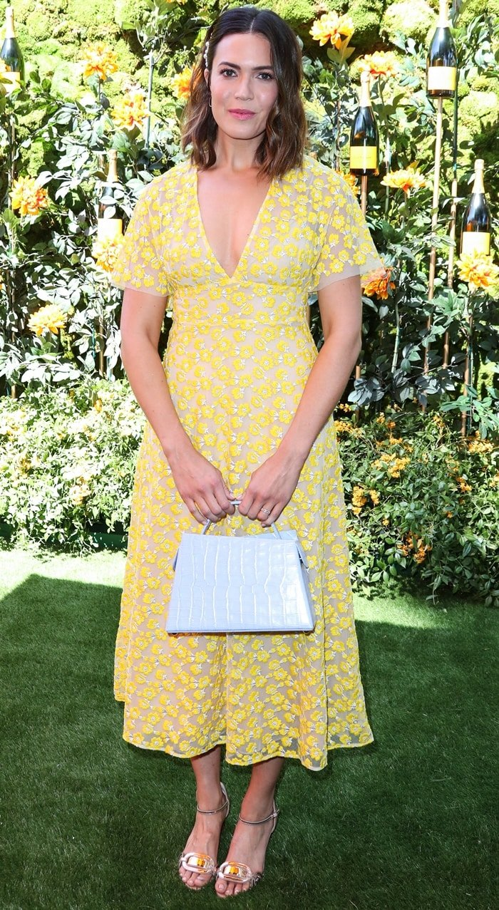 Actress Mandy Moore wearing a Lela Rose dress at the 10th Annual Veuve Clicquot Polo Classic