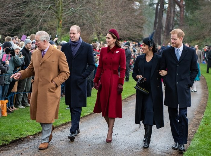 William Duke of Cambridge, Catherine Duchess of Cambridge, Meghan Duchess of Sussex, Harry Duke of Sussex, and Charles Prince of Wales