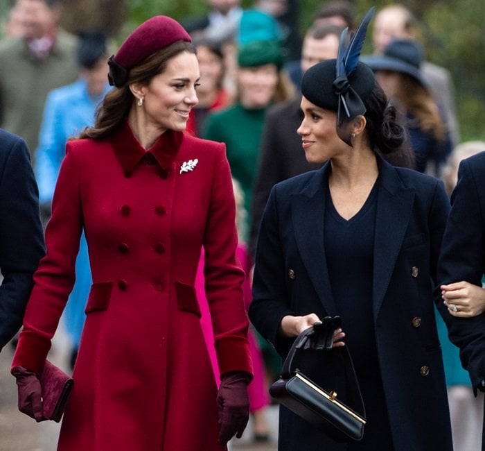 Meghan Markle and sister-in-law Kate Middleton arrive together at Christmas Day Church Service at Church of St. Mary Magdalene on the Sandringham estate in King's Lynn, England, on December 25, 2018