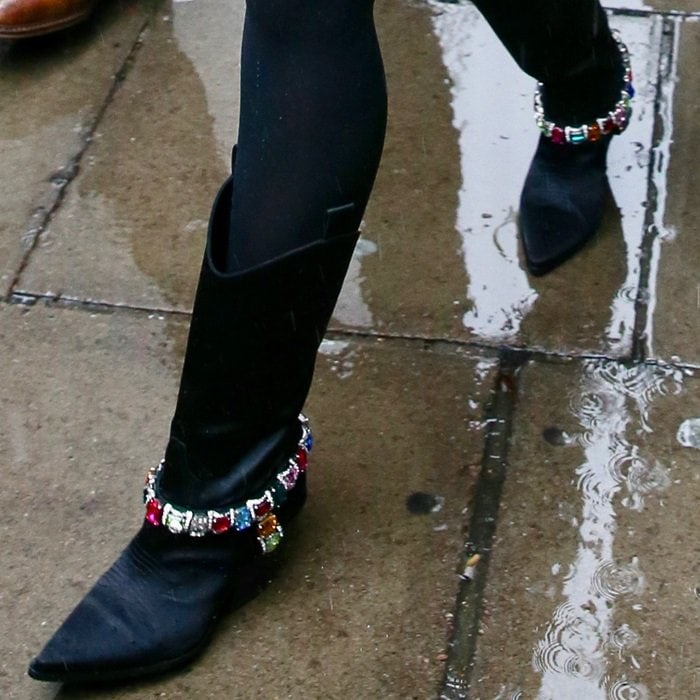 Miley Cyrus' crystal-embellished Rodeo satin boots from Casadei