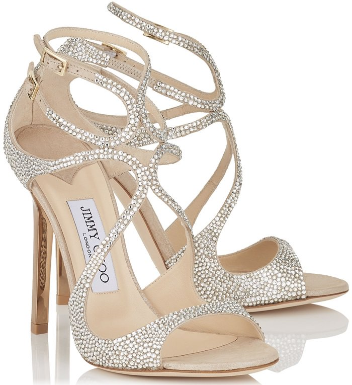 Nude Suede Sandals with Crystals