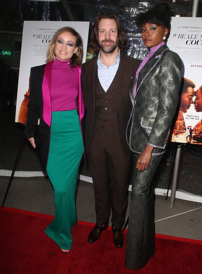 Olivia Wilde, Jason Sudeikis, and Kiki Layne at a screening of If Beale Street Could Talk