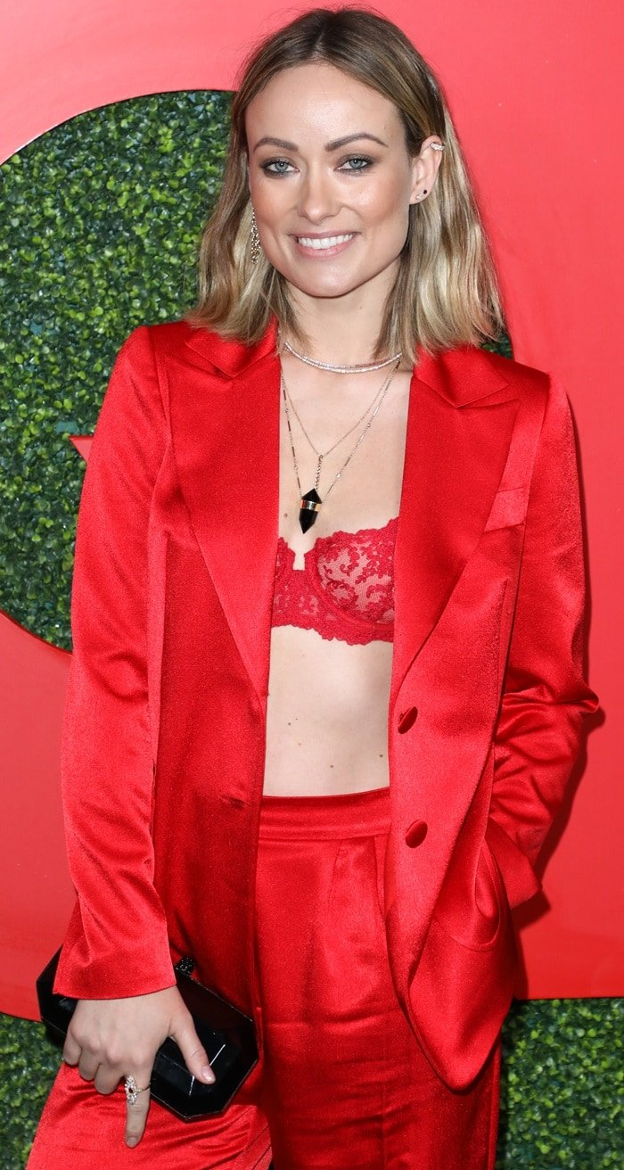 Olivia Wilde flaunted her cleavage in a red La Perla bra at the 2018 GQ Men of the Year Party held at the Benedict Estate in Beverly Hills, California, on December 6, 2018