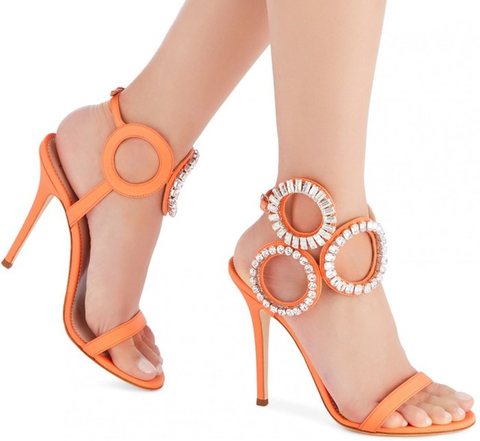 Orange Crystal Circle Stiletto Kassie Heels