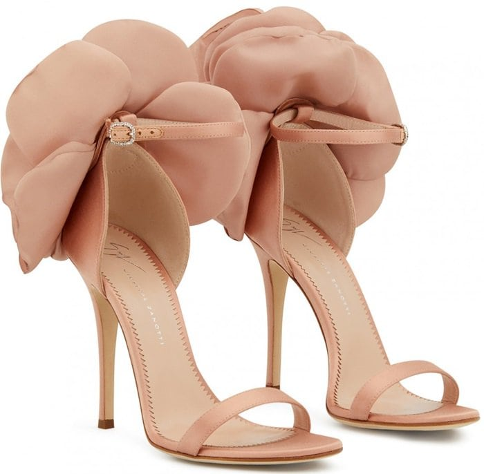 Pink Blooming Flower Peony Ankle Strap Sandals