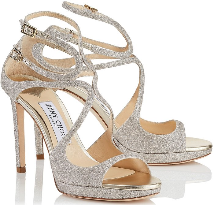Platinum Ice Dusty Glitter Fabric Strappy Sandals