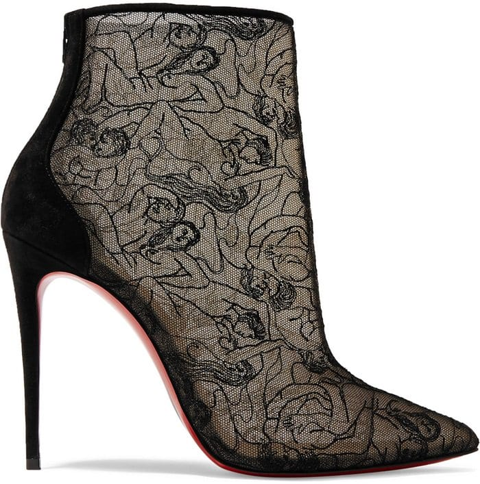 Suggestive and slender, the boot Psybootie veils the foot with elegance. In spider mesh and black lace, it is mounted on a 100mm stiletto for a developed that attests to the savoir-faire of the Louboutin House