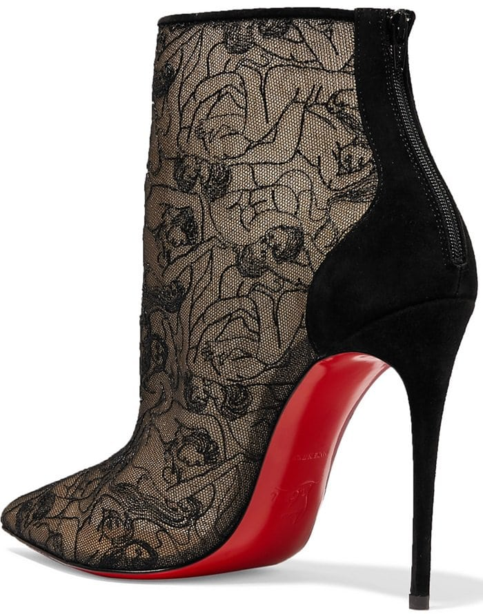 Christian Louboutin's designs always focus on the curvature of the foot, which results in the beautifully 'developed arch' of styles like these Psybooties