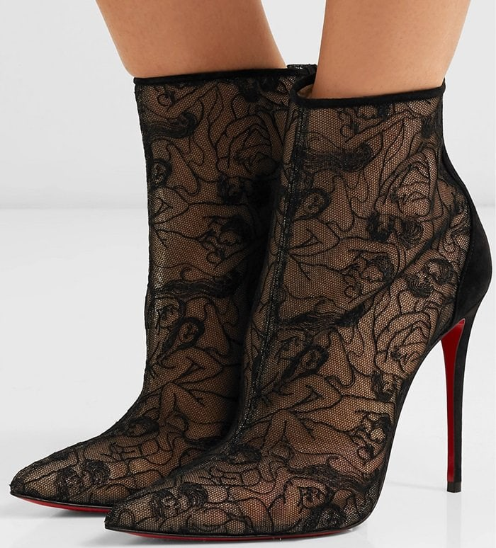 Set on a slender 100mm stiletto heel, this pair is crafted from suede and mesh that's intricately embroidered to resemble lace - look closely and you'll notice the pattern is made up of entwining bodies