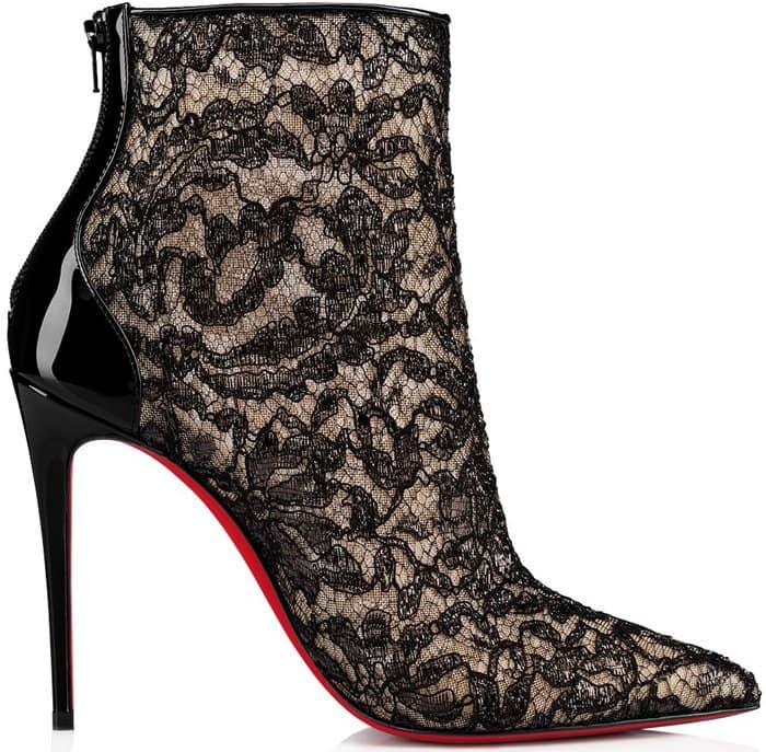 Floral Pattern Psybootie Spider Mesh and Black Lace Booties