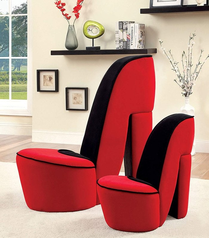 Red and Black Stiletto Style Accent Chairs