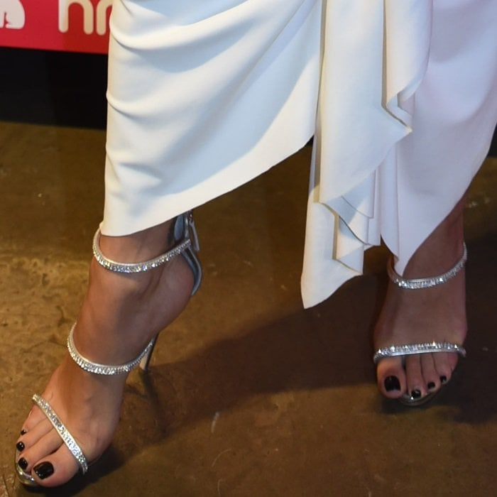 Rita Ora's hot feet in Giuseppe Zanotti's Harmony Sparkle sandals