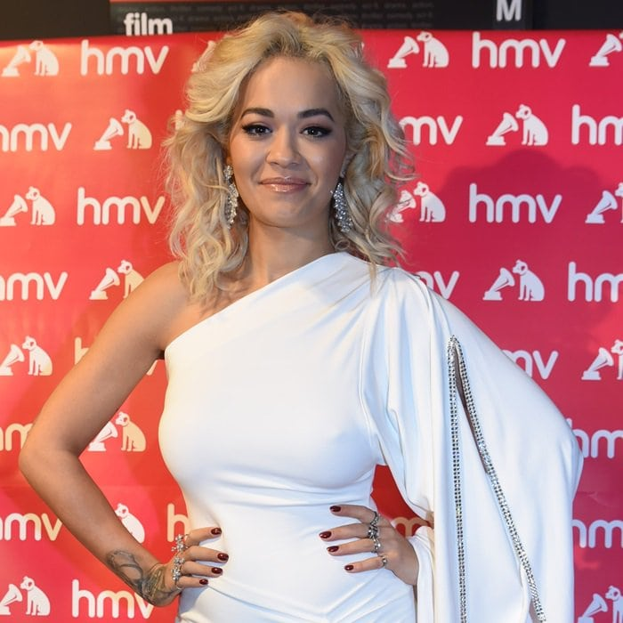 Rita Ora's Dannijo crystal encrusted drop earrings in a silvertone finish