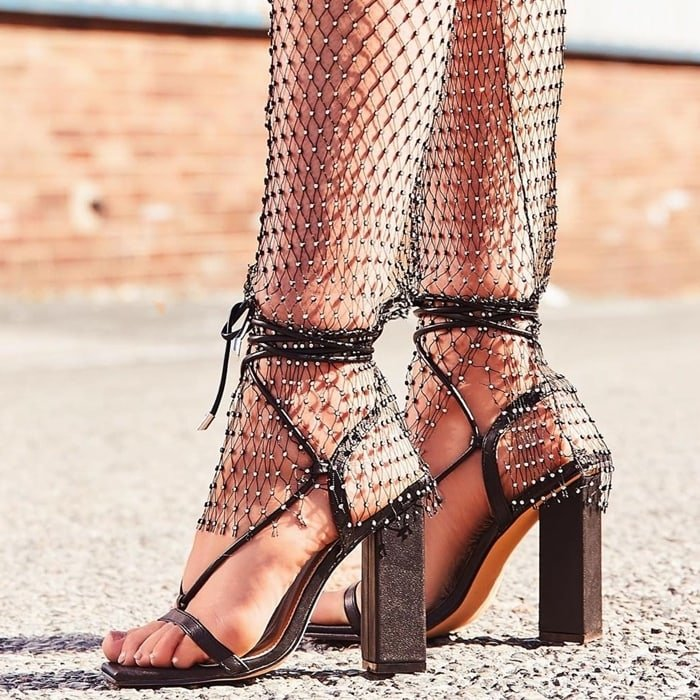 Black Scandalous Lace Up Square Toe Block Heels