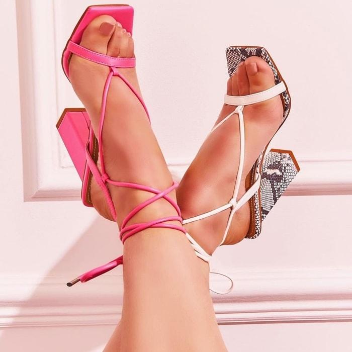 Scandalous Lace Up Square Toe Block Heels