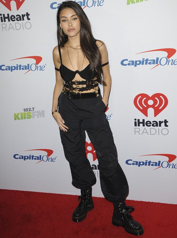 Madison Beer looking sexy in baggy black cargo pants by Sorella