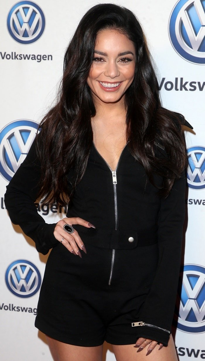 Vanessa Hudgens in a sexy long sleeve Roxy romper from I.AM.GIA
