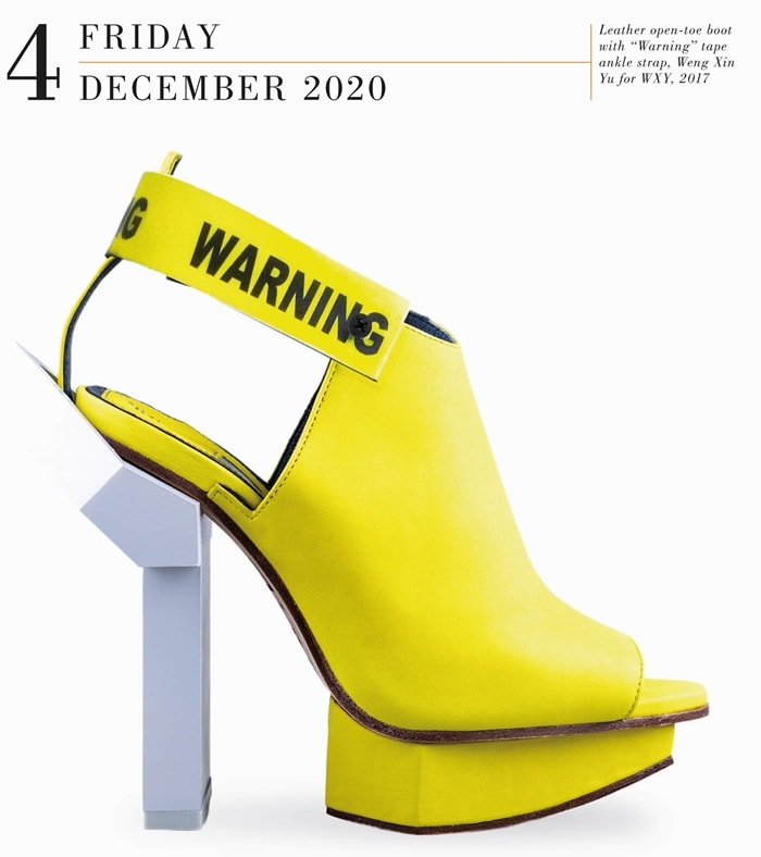 Yellow leather open-toe shoe with warning tape ankle strap by Taiwanese designer Weng Xin Yu for WXY