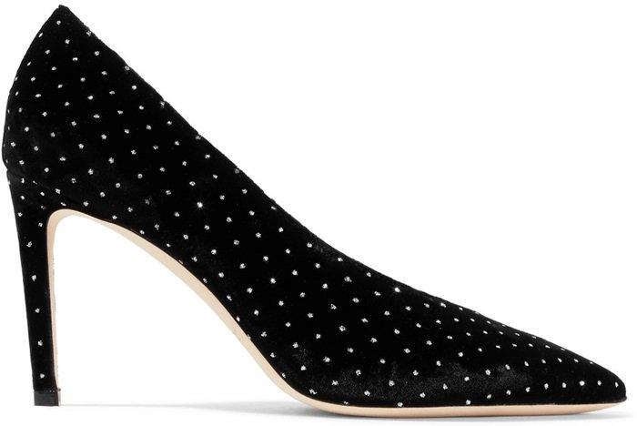 Black Glittered Velvet Sophia Pumps