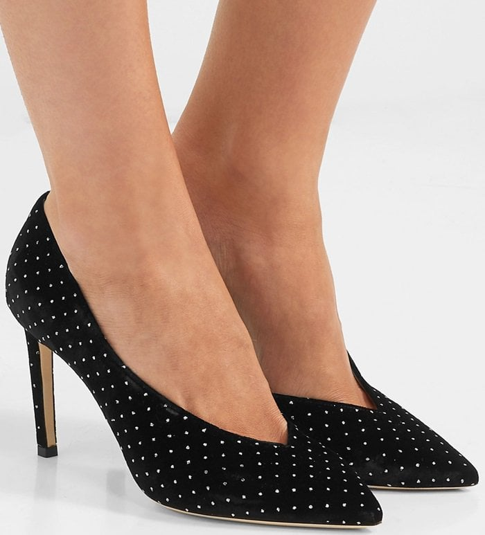 Made in Italy from black glittered velvet, this pair has a deep V-shape vamp that elongates the leg and is set on a slim 85mm heel