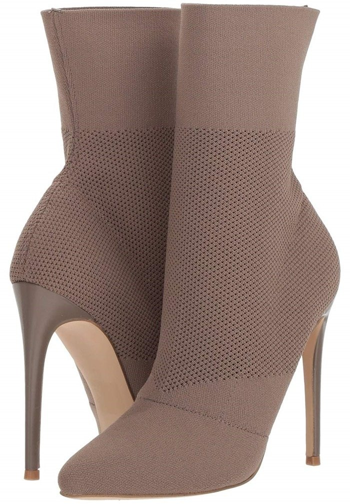 With a stretchy knit upper, this eye-catching bootie fits like a glove, while the shoe's tall stiletto heel adds lift and allure. This slinky ankle silhouette styles perfectly under practically any pant and creates a seamless leg line when layered over tights