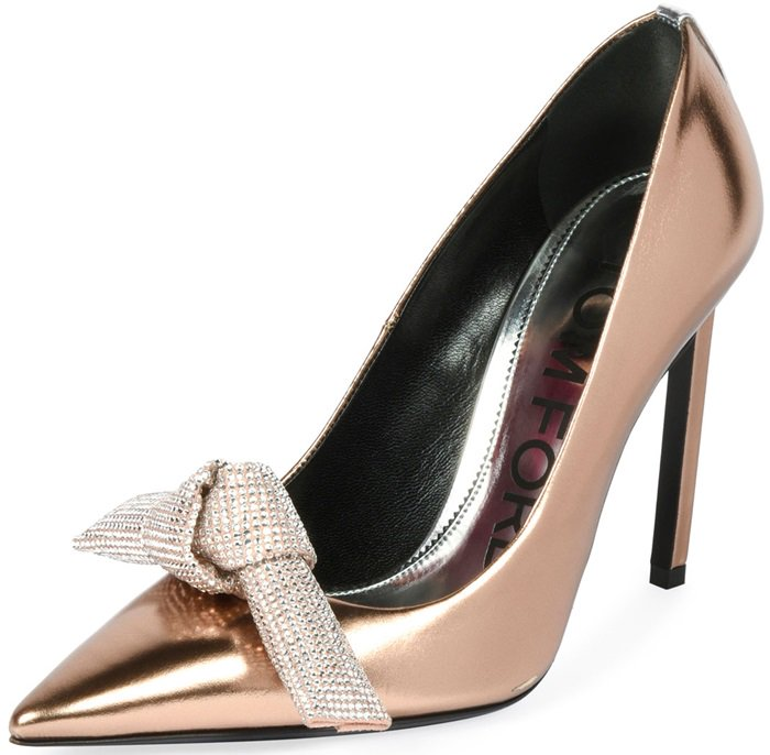Rose gold mirrored metallic leather pump with crystal bow
