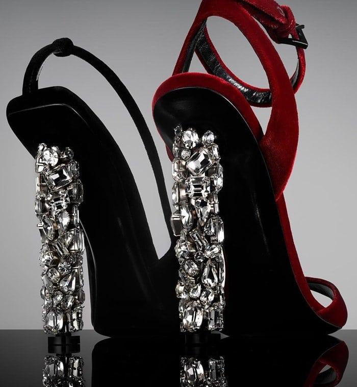 Velvet Ankle-Strap Sandals with Crystal Heel