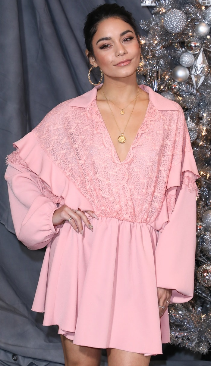 Vanessa Hudgens looked lovely in a cute a cute bohemian Giamba Fall 2018 dress