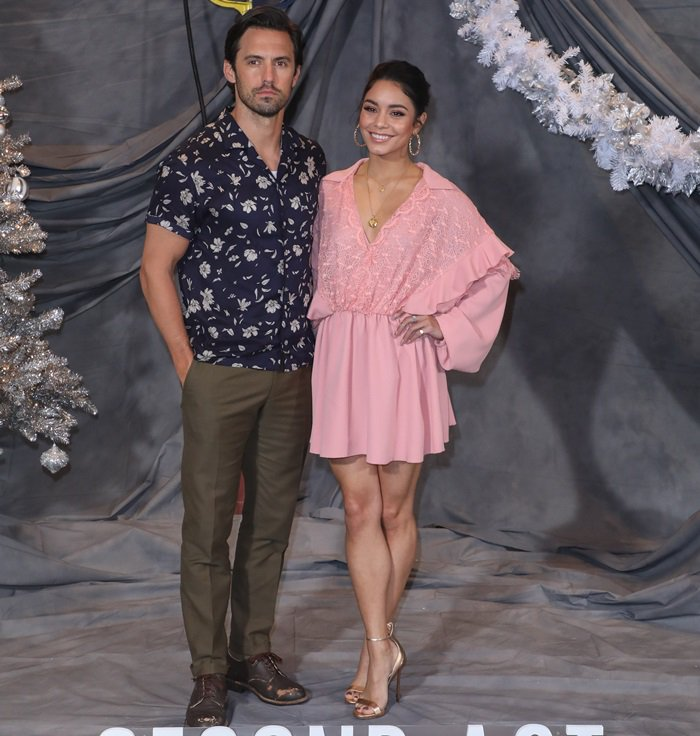 Vanessa Hudgens and Milo Ventimiglia at the Second Act photocall