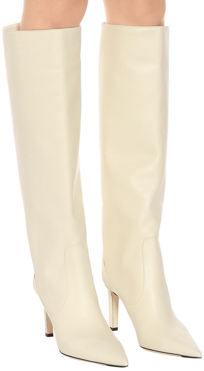 White Linen Smooth Leather Knee High Mavis Boots