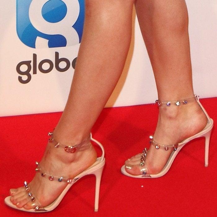 Zara Larsson's feet in her favoriteRosalind heels by Sophia Webster