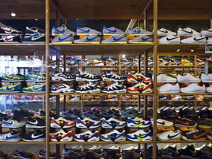World's largest Nike sneaker collection behind glass cases