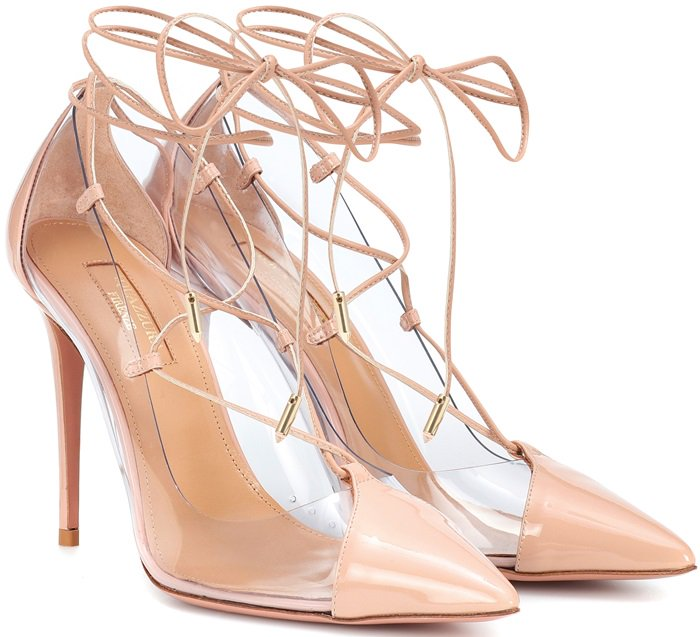 They're set atop a high 105mm stiletto heel and feature thin laces that elegantly frame the foot and ankles