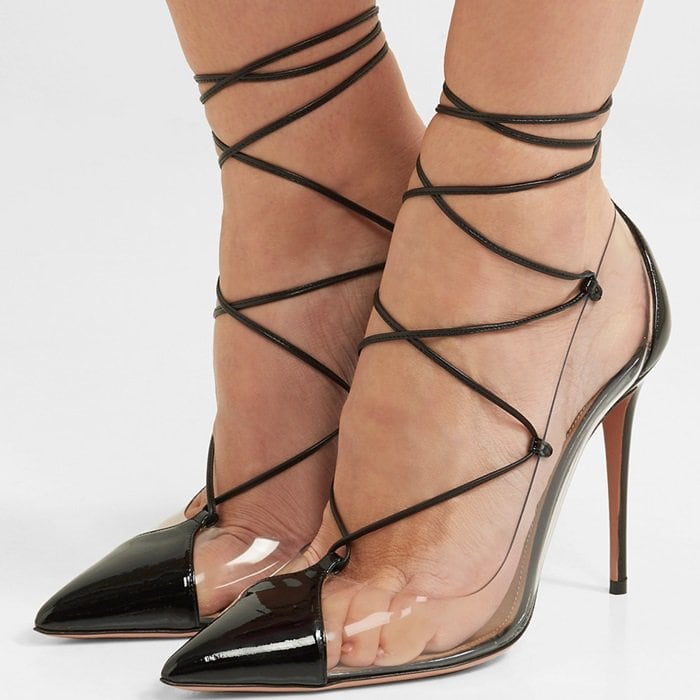 These pumps have sharp pointed toes and rest on 105mm heels