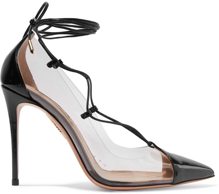 Aquazzura's 'Magic' pumps have been made in Italy from clear PVC and have slender patent-leather laces that tie at the ankles