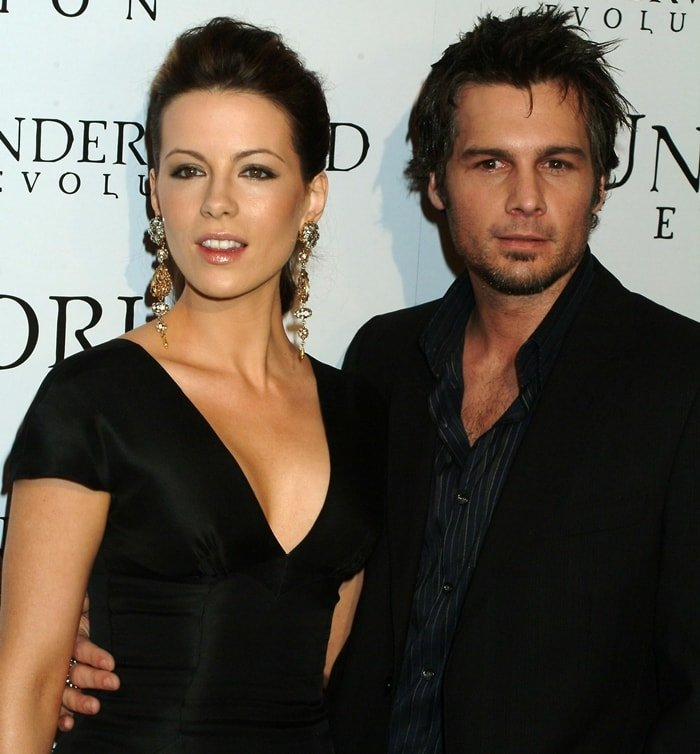 Actress Kate Beckinsale and director Len Wiseman, who finalized their divorce in November 2019, attend the premiere of 'Underworld Evolution'