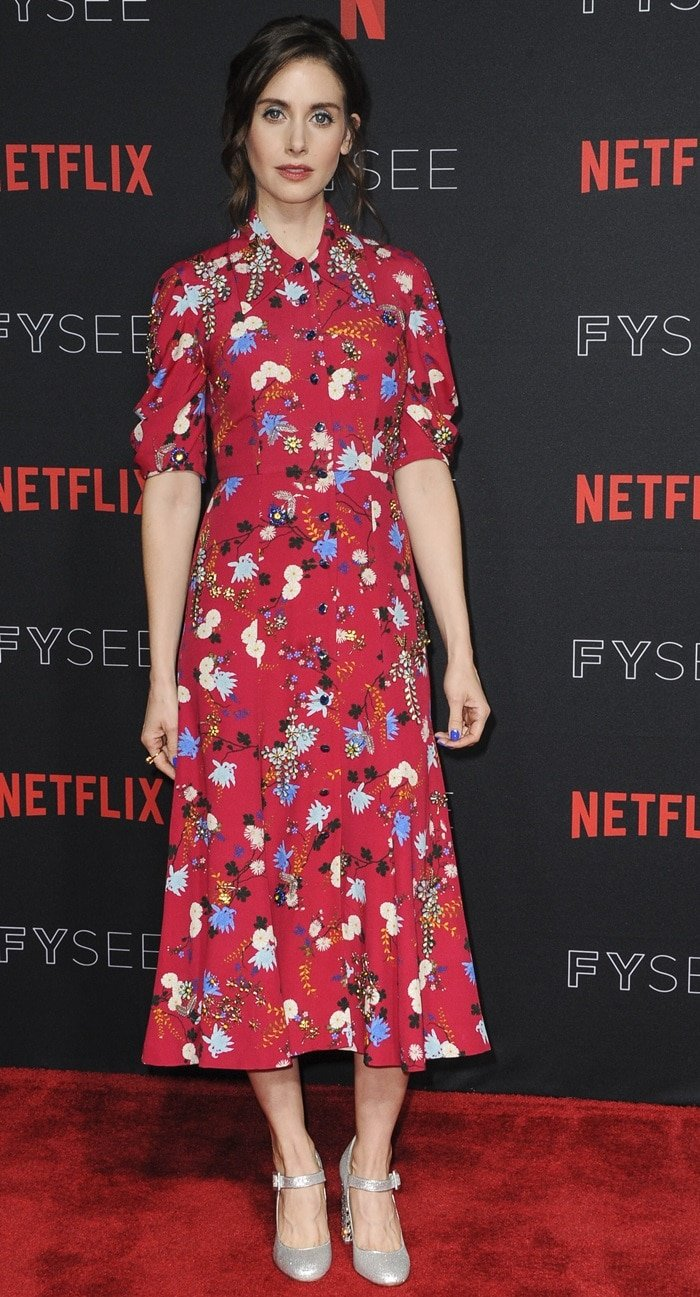 Alison Brie's red and floral-print Erdem dress at the GLOW Emmy for Your Consideration event
