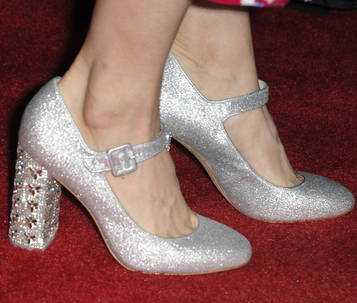 Alison Brie's hot feet in crystal-embellished Mary Janes