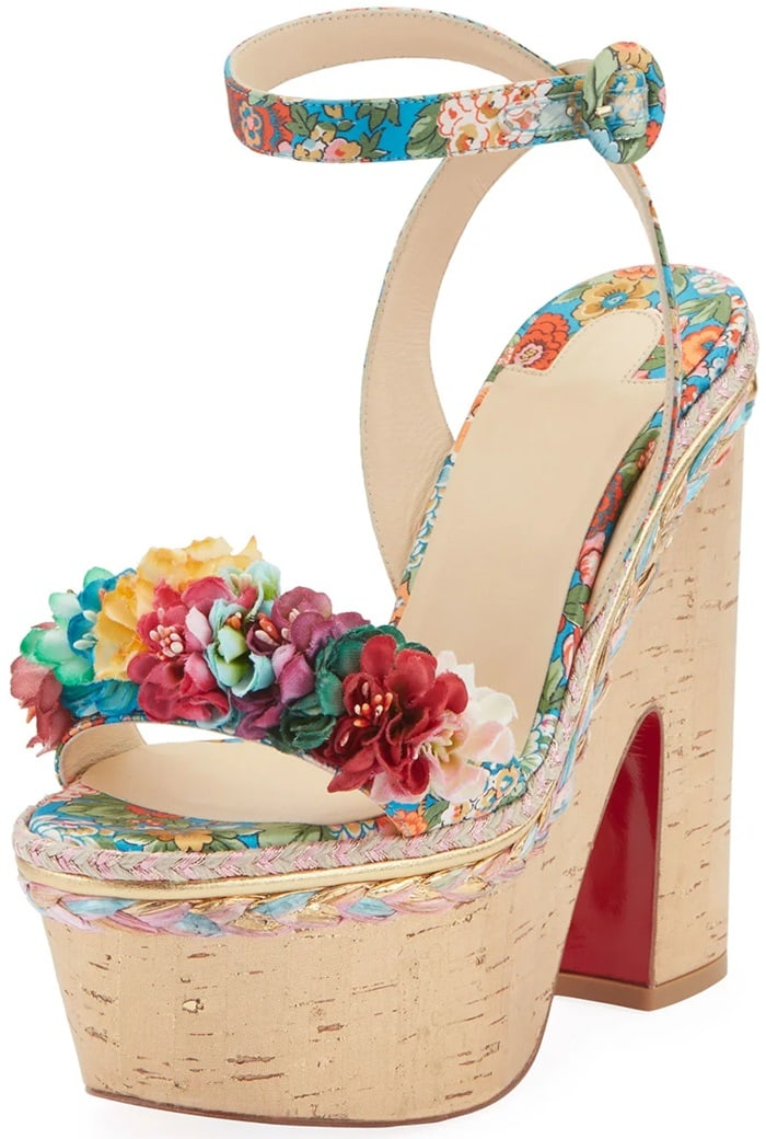Made in Italy, Christian Louboutin's Arielle Sevillana sandals are constructed of multicolored floral satin