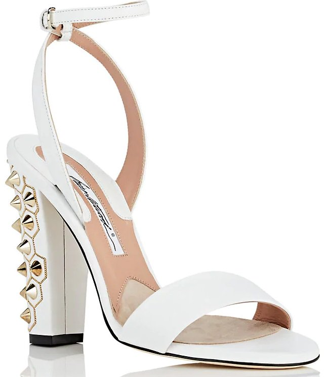 White Crawford Nucci Sandals With Goldtone Metal Studs