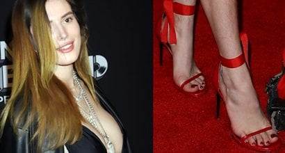 9ba59bc06be Bella Thorne s Hairy Legs in Red Printed Skirt and Strappy Heels