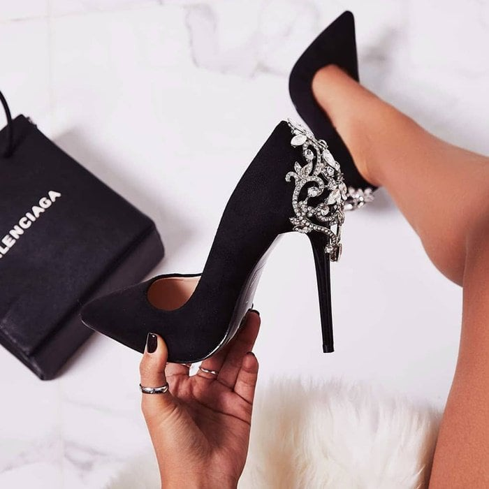 Black Aries Jewel Embellished Pumps
