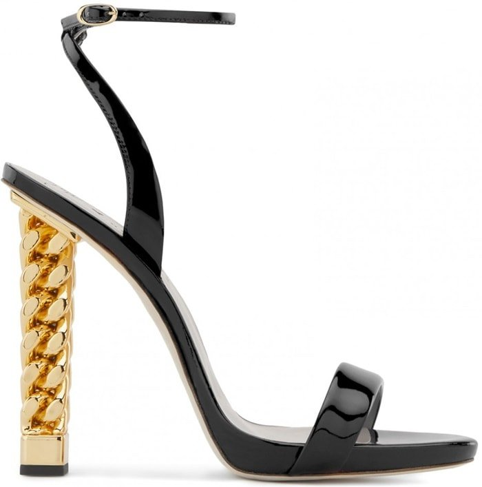 Crafted from luxurious black patent leather, these sandals are set on the iconic Chain chrome heel and fasten with a thin ankle strap and have a leather logo-adorned sole, the perfect intersection of Giuseppe Zanotti